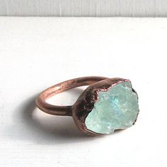 Raw Aquamarine Crystal Ring Size 7 Rough Rough Birthstone Ring Cocktail Ring Gemstone Ring March Stone Mineral Pale Blue For Her Handmade