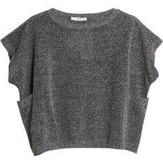 Mango Metal Thread Knit Top, Dark Grey