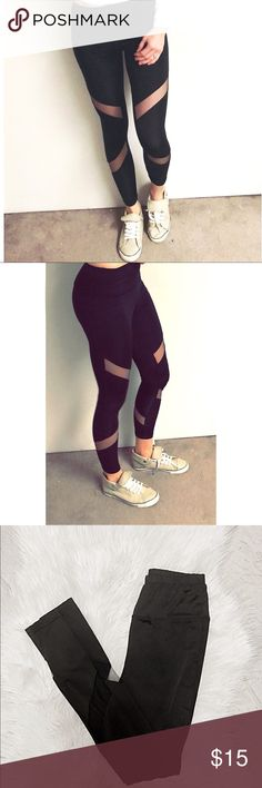 """Black leggings with mess detail """"Skinny fit"""" mess detailed workout leggings.  Super comfortable and flattering fit. *great condition! (Never wore these. Only tried on!) Pants Leggings"""