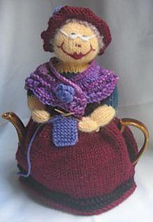 Cute knitting granny tea cosy