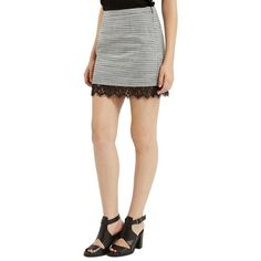 Topshop Lace Hem Boucle A-Line Skirt ($68) ❤ liked on Polyvore featuring skirts, grey, boucle skirt, knee length lace skirt, topshop, grey lace skirt and gray skirt