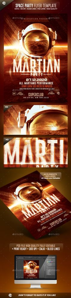 Martian Space Night  | Psd Flyer Template  #template #envatomarket #graphicriver #poster #movies #cinematic #effects #flyer #psd #romecreation