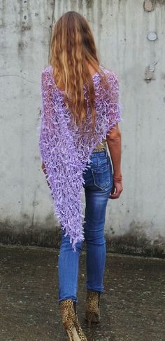 Lilac Poncho / Lilac ribbon Poncho by ileaiye on Etsy