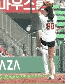 """Hot Korean Girl First Pitch"" ^^^^ That's what the original pinned said. I would say ""Talented pitcher KILLS it!"" She's too awesome to describe as just a ""hot Korean girl."""