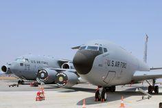 USAF Boeing KC-135R Stratotanker. In the background C-17 Globemaster III