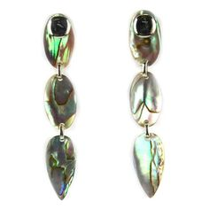 Pearl Lustre Sterling Silver Abalone Oval Earrings