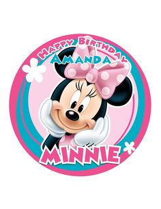 Minnie Mouse ROUND Edible Image Disney Photo Sugar Frosting Icing Cake Topper Sheet Personalized Custom Customized Birthday Party - 8 Round - 10742 >>> Discover this special product, click the image : Baking tools Bolo Da Minnie Mouse, Minnie Mouse Cake Topper, Minnie Png, Minnie Mouse Party, Mouse Parties, Retro Disney, Art Disney, Disney Kunst, Image Mickey