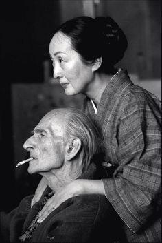 Henri Cartier-Bresson, The Painter Balthus and his wife Setsuko in their wooden hut of Rossiniere, Switzerland, 1998