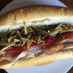 A Saturday sandwich of pure deliciousness: prosciutto tomato provolone and broccoli slaw drizzled with a balsamic vinaigrette. Let's eat! #foodie #bonappetit #delish