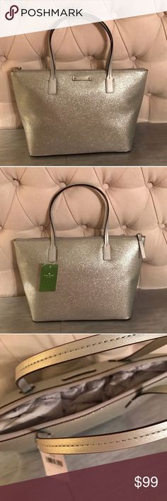 NWT Kate Spade Hani Haven Lane Silver Sparkly Bag Add the perfect amount of sparkle ✨ to your day with this kate spade ♠️ bag in sparkly silver. Bag is 8.5 inches tall x 14 inches wide. Comes from smoke and pet free home, never used and is without stains, tears, or rips. Authentic kate Spade. kate spade Bags Totes