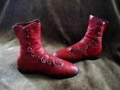 Antique Victorian Girls Red Leather Scalloped Button Up Shoes Boots | eBay
