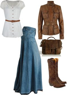 """Simply Denim"" by hispureprincess on Polyvore.  Long Denim, Classic White, Brown Beautiful Boots!"