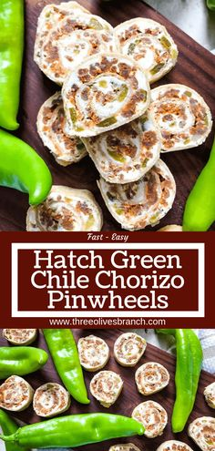 Hatch Green Chile Chorizo Pinwheels – Three Olives Branch A fast and easy appetizer recipe great for game day, party food, and entertaining. Hatch Green Chile Chorizo Pinwheels are filled with a cream cheese mixture, chorizo sausage, and chile peppers. Best Appetizer Recipes, Quick And Easy Appetizers, Mexican Food Recipes, Ethnic Recipes, Pinwheel Appetizers, Tapas Recipes, Tailgating Recipes, Potluck Recipes, Cinco De Mayo
