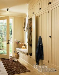 This thread about converting a coat closet to a mudroom includes several photos from different users.
