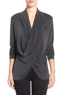 Chaus Herringbone Sparkle Knit Faux Wrap Top