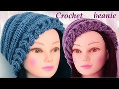Gorro a Crochet en punto espigas horizontales en relieve tejido tallermanualperu - YouTube