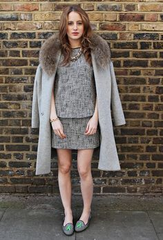 Trendy Fashion, Winter Fashion, Womens Fashion, Formal Fashion, Made In Chelsea, New Image, Fur Coat, Slippers, High Neck Dress