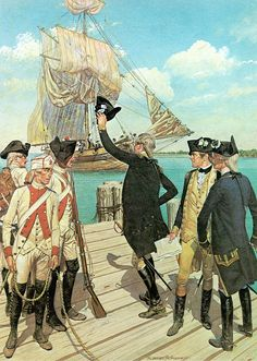 1781, The French Arrive, Gen. Washington waves to The Comte De Rochambeau