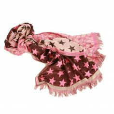 Codello Star and Leopard Mixed Print Scarf in Dark Pink