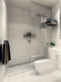 """For a simple look - Large white tiles - Kerry Phelan Design. Similar layout of our small bathroom with a floating sink! Would prefer a glossier finish to the tiles since we won't be tiling all the walls """"wet room. Downstairs Bathroom, Laundry In Bathroom, Bathroom Layout, Tile Layout, Bathroom Showers, Bathroom Hacks, Shower Rooms, Shower Walls, Master Bathroom"""