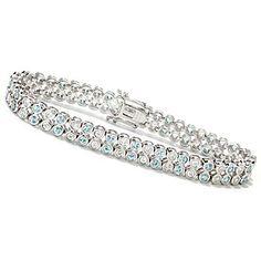 Gem Treasures Sterling Silver Bezel Set Blue & White Zircon Tennis Bracelet