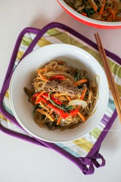 Korean Glass Noodle Stir Fry (Japchae) recipe   MyKoreanKitchen.com