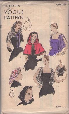 MOMSPatterns Vintage Sewing Patterns - Vogue 5810 Vintage 40's Sewing Pattern INCREDIBLE Hollywood Film Noir Starlet Draped Hooded Capelet, Cheer Chiffon or Lace Shoulder Shrug with Deep Cowl, Rosie the Riveter Kerchief Head Scarf
