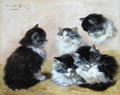 Etude: chatton noir et blanc. Henriette Roneer-Knip  (1821-1909)