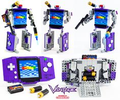 """""""Vantage"""", LEGO Game Boy Advance Transformer by Baron von Brunk. Check out the tutorial on Instructables to build your own! Lego Mecha, Lego Robot, Lego Transformers, Lego Sculptures, Amazing Lego Creations, Lego Pictures, Lego Games, All Lego, Lego Design"""