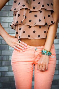 Polka dot top and orange sherbet pants