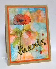 hand crafted thank you card ... Bokeh Poppy by cullenwr ... luv the impressionistic look with bokeh covering parts of the main flower image  ...