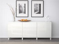 Besta white credenza change the feet. Ikea Wedding Registry, Cosy Interior, Modern Interior Design, White Credenza, Best Ikea, Entryway Decor, Entryway Ideas, Dining Room, Tv Storage