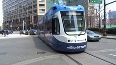 Detroit QLine LRV 290 Southbound On Woodward Ave Running On Battery