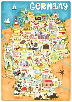 Travel and Trip infographic Illustrated Maps – Liv Wan Illustration Freelance Illustrator Infographic Description Delicious and fun map of Germany, illustrated and designed by Liv Wan at livwanillustratio… – Infographic Source – - Travel Maps, Travel Posters, Travel Illustration, Map Design, Travel Design, Thinking Day, City Maps, Vintage Maps, Freelance Illustrator