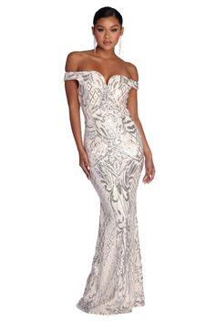 3a7292da2d79 Janessa Formal Off The Shoulder Dress. Silver Klänning