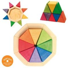 Grimm's Small Octagon - Wooden Rainbow Puzzle with 8 Triangles