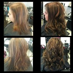 Before and after full head of extensions got length but mainly thickness!