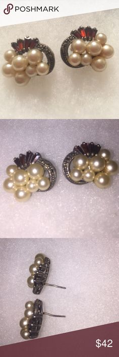 Beautiful Sterling Pearl Garnet Marcasite Earrings Super nice, posts are just a little bent and no backs. Very well made earrings. pearl garnet sterling Jewelry Earrings