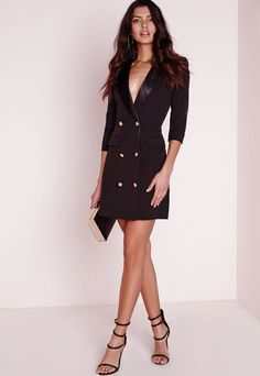 Shop for Tall Long Sleeve Tuxedo Dress Black by Missguided at ShopStyle. Now for Sold Out.