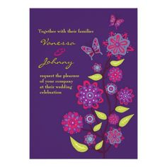 ShoppingFunky Purple Flowers Wedding Custom Invitationonline after you search a lot for where to buy
