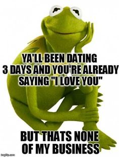 Dating, kermit the frog, and love: yall been dating saying i love. via kermit memes Kermit The Frog Quotes, Frog Meme, Kermit The Frog Costume, Funny Relatable Memes, Funny Quotes, Hilarious Memes, Karma, Lol, New Memes