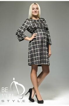 Patterned Maternity Dress With Long Sleeves Long Sleeve Maternity Dress, Maternity Wear, Maternity Dresses, High Neck Dress, Dresses For Work, Sleeves, Pattern, How To Wear, Collection