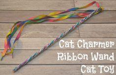 #DIY Cat Charmer Ribbon Wand Cat Toy, ribbon toy for cats, Ribbon Wand, DIY Ribbon Wand, Homemade cat toys #MyCatMyMuse  #ad