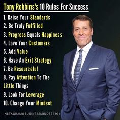 Tony Robbins 10 rules for success. Tony Robbins If you agree with this do double tap - Motivation Success, Business Motivation, Business Quotes, Monday Motivation, Success Quotes, Sales Motivation, Strategy Business, Leader Quotes, Business Journal