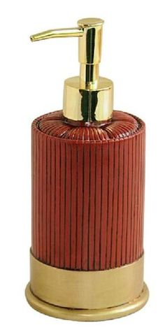 """Polyresin Ammo Soap Dispenser. Pump soap/shower gel dispenser is modeled after a shotgun shell. Measures 3.8"""" x 3/4"""" x 7.8"""" and is refillable. Great for the bathroom or kitchen, or anywhere you have r"""