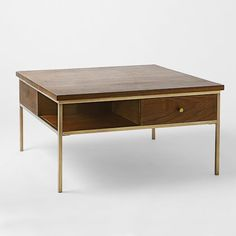 Nook Coffee Table, Walnut /Antique Brass