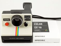 Tested and Working Vintage Polaroid OneStep SX-70 White Rainbow Stripe Instant Film Camera with 1 Pack of New Impossible Project Color SX-70 Film  ABOUT THE CAMERA: This is the iconic Polaroid SX-70 OneStep camera that helped to inspire Instagram. In fact, Instagram's App logo is a direct play on this vintage camera.  This little camera is both highly collectible and usable. It was one of the first instant film cameras designed and produced by Polaroid in their now highly familiar box type…