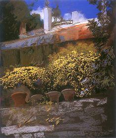 Leon Wyczółkowski:   Grenada, fragment ogrodu.  1905. Pastel na kartonie. 63 x 51,5 cm.  Muzeum Narodowe, Kraków.
