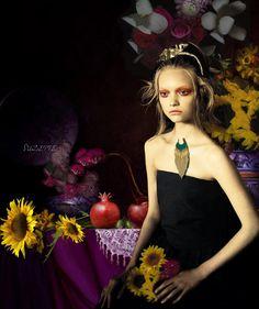 The Pomegranate. #collage #art #digital #photo #paolo #roversi  #vogue #Italia #model #Gemma #ward #chiaroscuro #still #life #flowers #sunflowers #basket #vase #pomegranate #red #gold #necklace #Leonardo #Bazaart #Suzette