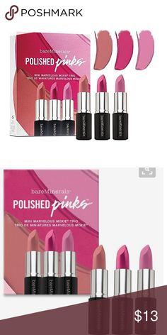 bareMinerals Polished Pinks Trio BareMinerals Mini Marvelous Moxie® Polished Pinks Trio. Great mini lipstick trio!  A trio of mini Marvelous Moxie® Lipsticks that bring lavish, irresistible color to your lips in beautiful shades of sumptuous pinks. Colors Include: Speak Your Mind (blushing pink) Never Say Never (fuchsia pink), Fly High (lavender pink cream) bareMinerals Makeup Lipstick